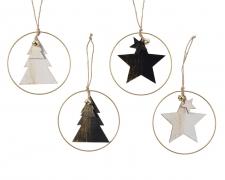 X275KI Déco Noël en bois assorti à suspendre D12cm
