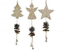 X276KI Déco Noël en bois assortie à suspendre H38cm