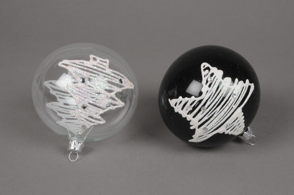 X277T1 Boîte de 4 Boules en verre en verre motifs sapin et étoile D10cm