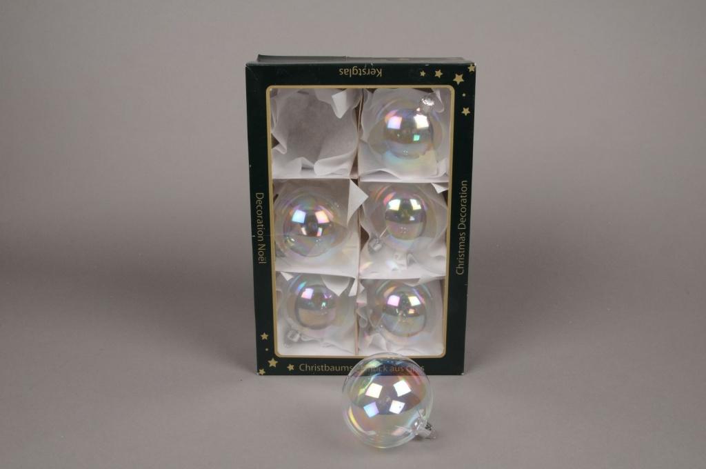 X281T1 Boite de 6 boules transparentes irisées D6cm
