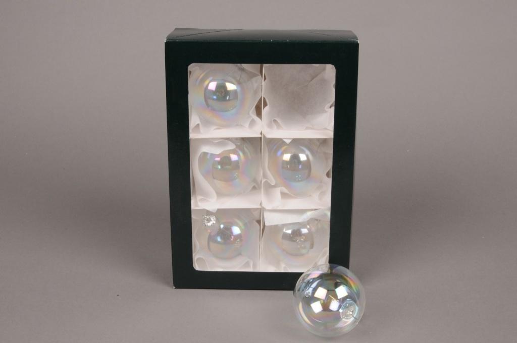 X282T1 Boite de 6 boules transparentes irisées D8cm
