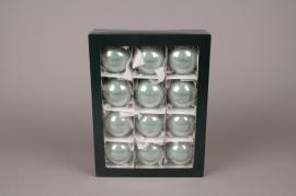 X284T1 Boîte de 12 boules en verre brillant vert amande D6cm