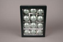 X286T1 Box of 12 matte almond green glass balls D6cm