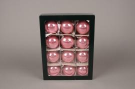 X288T1 Boîte de 12 boules en verre brillant corail D6cm