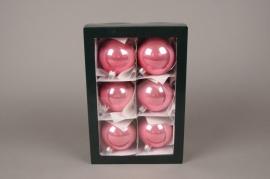 X289T1 Boîte de 6 boules en verre brillant corail D8cm