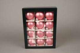 X290T1 Boîte de 12 boules en verre mat corail D6cm