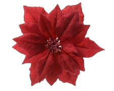X291KI Poinsettia artificiel en tissu rouge D24cm