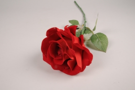 x297fd Red artificial rose H58cm