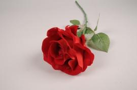 x297fd Rose artificielle rouge H58cm
