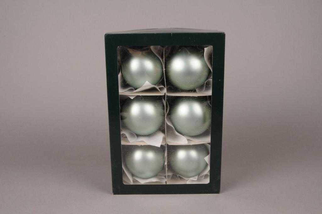 X297T1 Boîte de 6 boules en verre mat vert amande D8cm