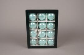 X300T1 Boîte de 12 boules en verre brillant bleu turquoise D6cm