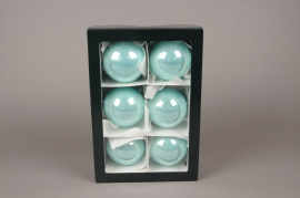 X301T1 Boîte de 6 boules brillant bleu turquoise D8cm