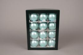 X302T1 Boîte de 12 boules en verre mat bleu turquoise D6cm