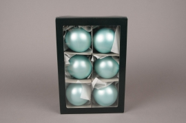 X303T1 Boîte de 6 boules en verre mat bleu turquoise D8cm