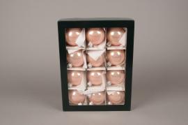 X304T1 Boîte de 12 boules brillant rose poudré D8cm