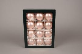 X306T1 Boîte de 12 boules en verre mat rose poudré D6cm