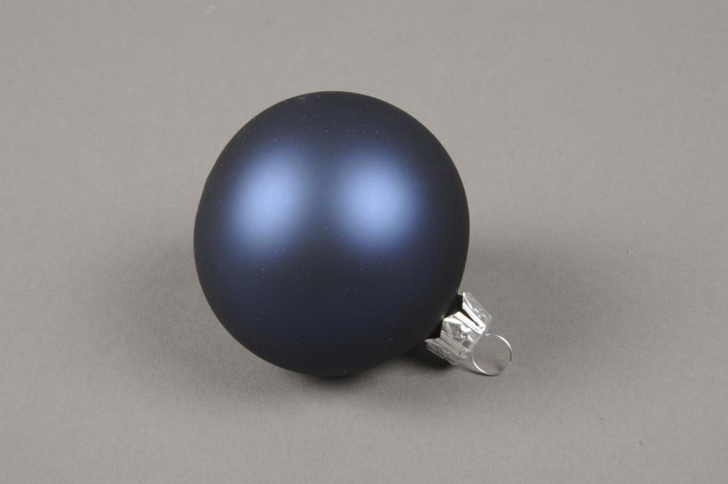X317T1 Boîte de 12 boules en verre mat bleu D6cm