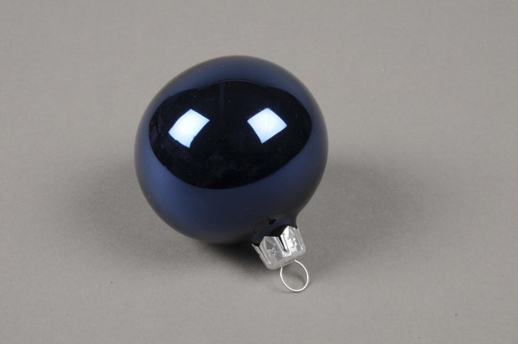 X319T1 Boîte de 12 boules en verre brillant bleu D6cm