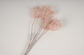 x321fd Dille artificielle rose pailleté H81cm