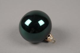 X321T1 Box of 12 shiny emerald green glass balls D6cm
