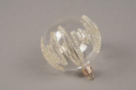 X322T1 Boite de 4 boules en verre déco D8cm