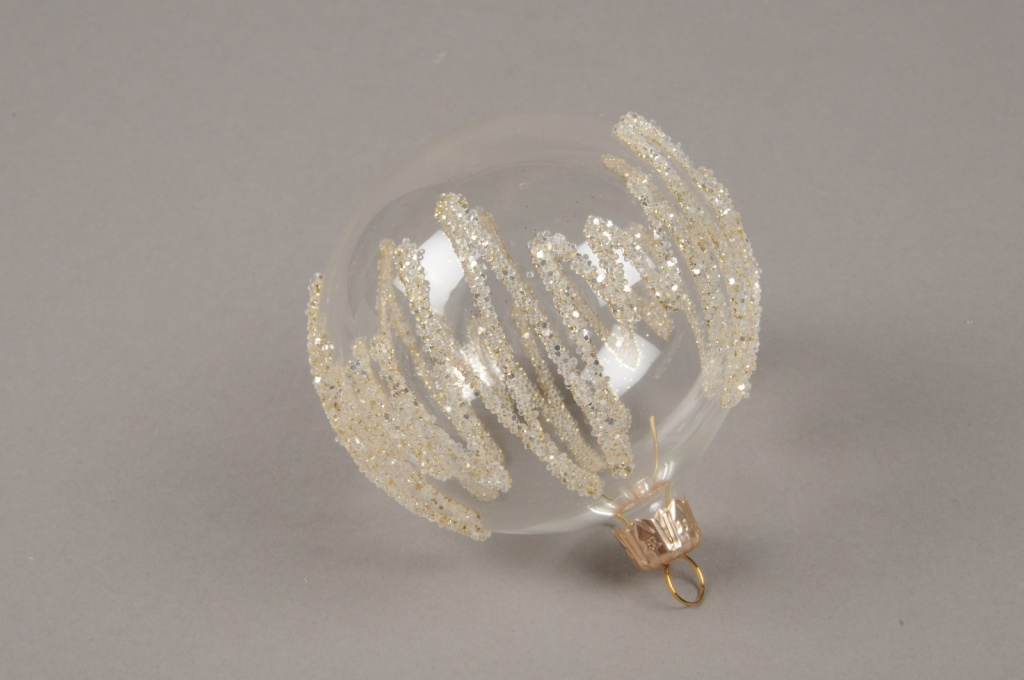 X322T1 Box of 4 clear deco glass balls D8cm