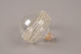 X323T1 Box of 6 clear deco glass balls D6cm