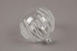 X324T1 Box of 4 clear deco glass balls D8cm