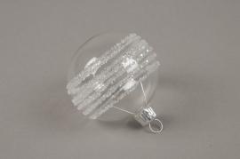 X325T1 Box of 6 clear deco glass balls D6cm