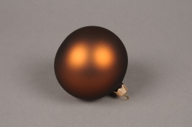 X332T1 Box of 6 matte havane glass Christmas balls D8cm