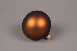 X332T1 Box of 6 matte havane glass Christmas balls D8cm