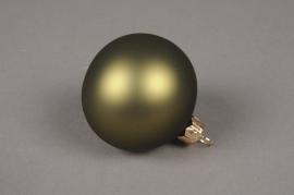 X334T1 Box of 6 matte green glass Christmas balls D8cm