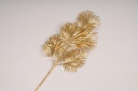 x335fd Branche de palme artificielle dorée H65cm