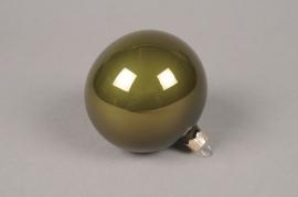 X335T1 Box of 6 shiny green glass Christmas balls D8cm