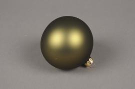 X336T1 Box of 6 matte green glass Christmas balls D8cm