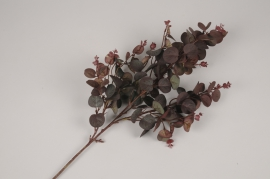 x340ee Branche d'eucalyptus artificiel rouge H65cm