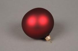 X340T1 Box of 6 matte garnet glass Christmas balls D8cm
