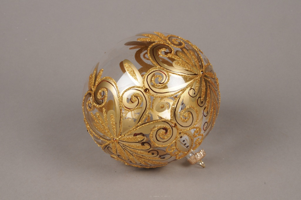 X341T1 Glass Christmas ball with gold ornament D15cm