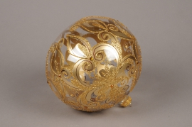 X342T1 Glass Christmas ball with gold ornament D20cm