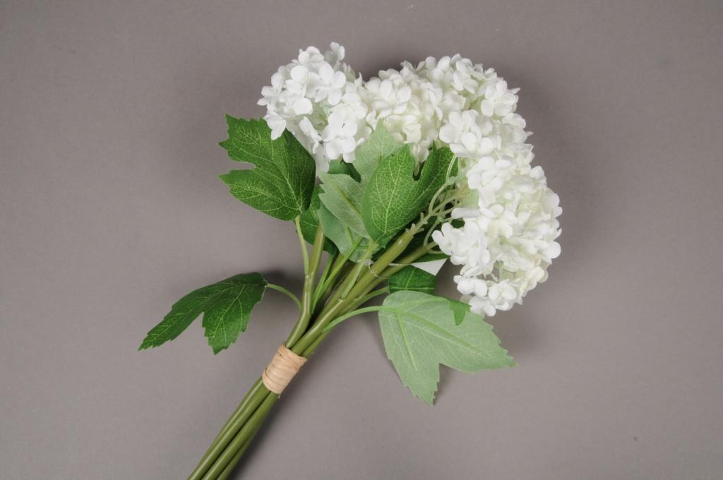 x346mi Bouquet d'hortensias artificiels blanc H27cm