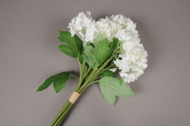 x346mi Bouquet d'hortensias artificiels blanc H27cm