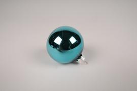 X347T1 Boîte de 12 boules en verre turquoise D6cm