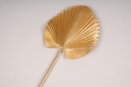 x351fd Feuille de palme artificielle dorée H76cm
