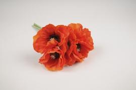 x354nn Bouquet de pavots artificiel rouge H29cm