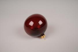 X362T1 Box of 6 dark red clear glass balls D8cm