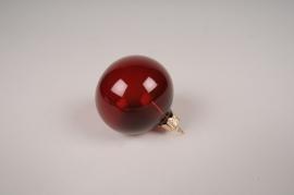 X363T1 Box of 12 dark red glass balls D6cm