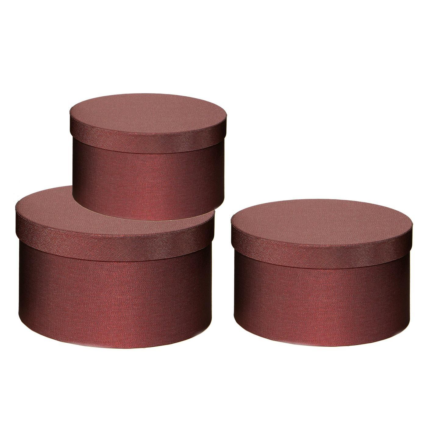 X363UN Set de 3 boîtes bordeaux D26cm H15cm
