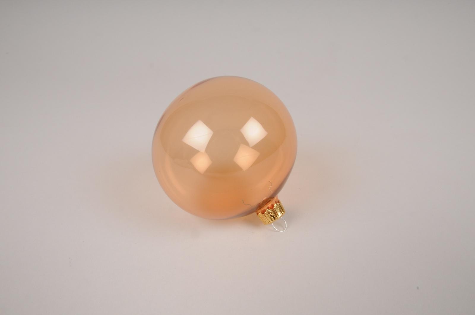 X365T1 Boîte de 6 boules en verre ambre D8cm