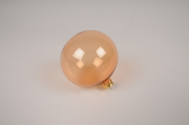 X365T1 Box of 6 amber glass balls D8cm