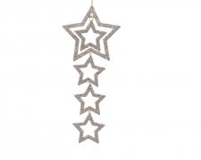 X369KI Set de 2 suspensions de 4 étoiles champagne l18cm